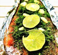 Filet łososia pieczony w sosie limonkowo miodowym