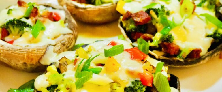 Portobello z chorizo i warzywami